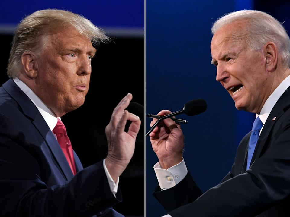 (COMBO) This combination of pictures created on October 22, 2020 shows US President Donald Trump (L) and Democratic Presidential candidate and former US Vice President Joe Biden during the final presidential debate at Belmont University in Nashville, Tennessee, on October 22, 2020. (Photos by Brendan Smialowski and JIM WATSON / AFP) (Photo by BRENDAN SMIALOWSKI,JIM WATSON/AFP via Getty Images)
