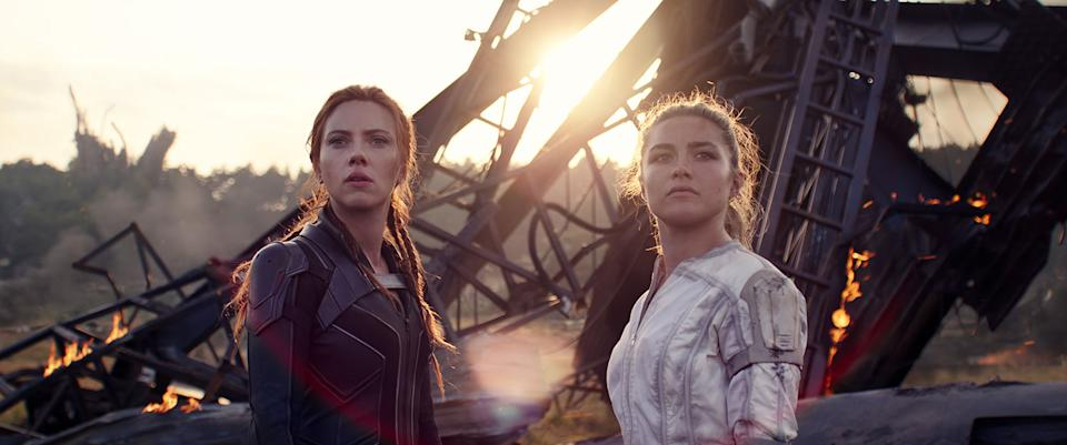 Scarlett Johansson and Florence Pugh both play subjects of the Black Widow programme in the movie of the same name. (Marvel Studios/Disney)