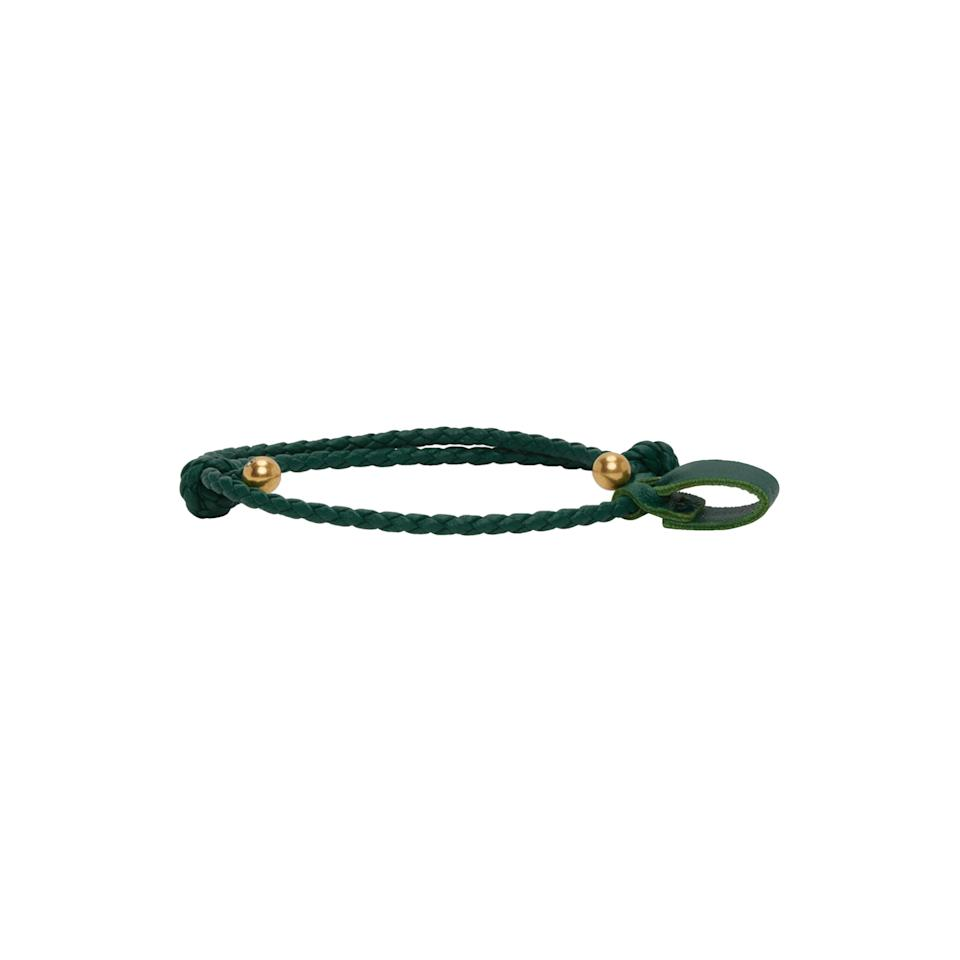 "Not sure where to start with men's jewelry? It's hard to go wrong with Bottega Veneta, so try this green woven bracelet with gold-tone hardware (also available in white and black). $220, Ssense. <a href=""https://www.ssense.com/en-us/men/product/bottega-veneta/ssense-exclusive-green-and-gold-intrecciato-bracelet/5334441"" rel=""nofollow noopener"" target=""_blank"" data-ylk=""slk:Get it now!"" class=""link rapid-noclick-resp"">Get it now!</a>"