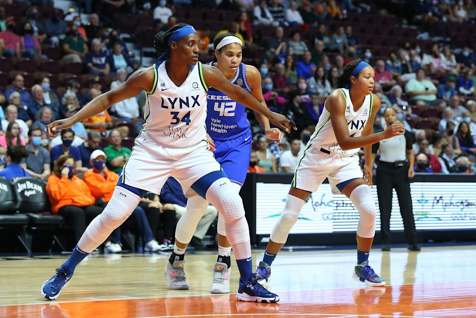 Lynx center Sylvia Fowles (34) and forward Napheesa Collier (24) are the biggest reasons why Minnesota could reasonably make the WNBA Finals. (M. Anthony Nesmith/Icon Sportswire via Getty Images)