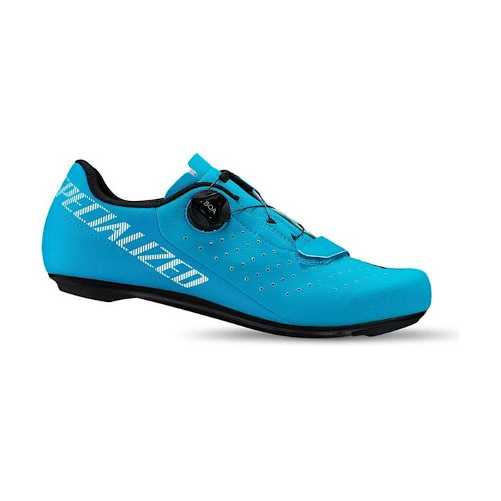 """<p><strong>Specialized </strong></p><p>specialized.com</p><p><strong>$110.00</strong></p><p><a href=""""https://www.specialized.com/us/en/torch-1-0-road-shoes/p/172702?color=272309-172702&searchText=61020-5036"""" rel=""""nofollow noopener"""" target=""""_blank"""" data-ylk=""""slk:Shop Now"""" class=""""link rapid-noclick-resp"""">Shop Now</a></p><p>The Boa lacing system on this shoe guarantees a perfect fit, ideal for both out-of-the-saddle jogs and intense, heavy climbs. Plus, it comes in some funky colorways to suit every style. </p>"""