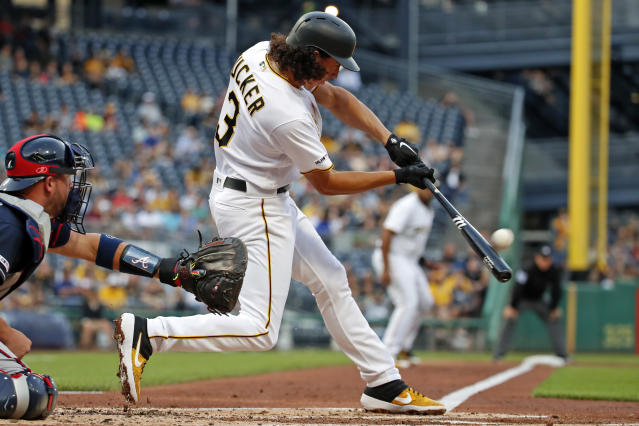 Pittsburgh Pirates' Cole Tucker drives in two runs with a double off Atlanta Braves starting pitcher Max Fried during the first inning of a baseball game in Pittsburgh, Tuesday, June 4, 2019. (AP Photo/Gene J. Puskar)