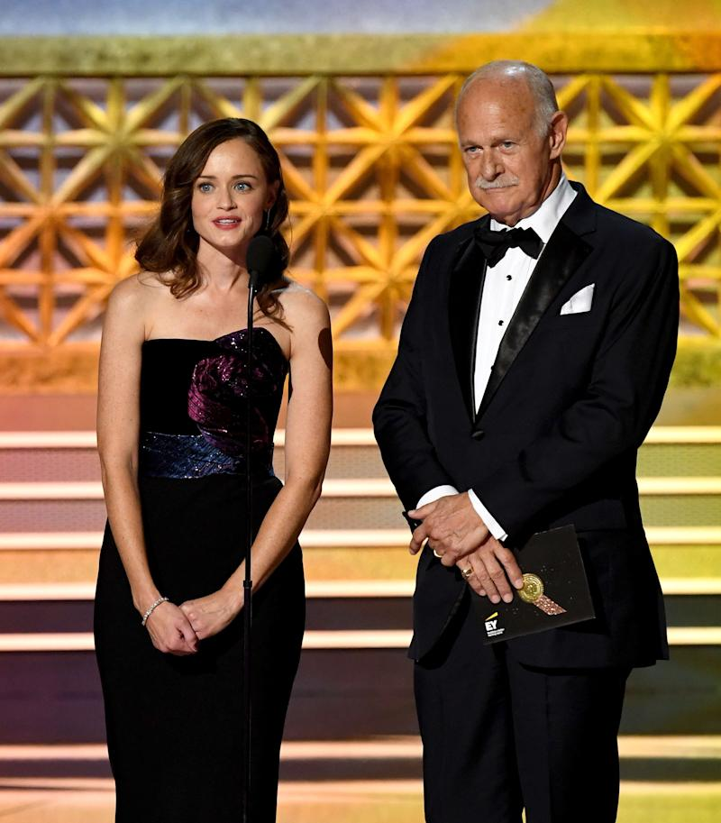 Actors Alexis Bledel and Gerald McRaney speak onstage during the 69th Annual Primetime Emmy Awards at Microsoft Theater on Sept. 17, 2017 in Los Angeles, California.