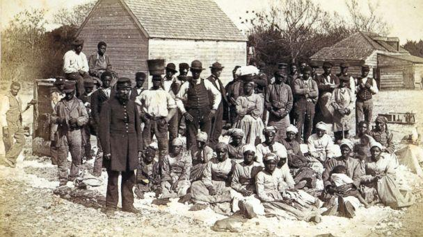 PHOTO: Slaves of Thomas F Drayton of Magnolia Plantation, Hilton Head, South Carolina, 1862 pose for a picture. (Getty Images)