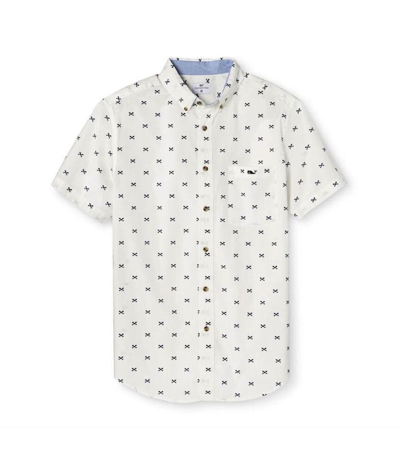 Vineyard Vines Men's Fishbone Short Sleeve Woven Button-Down Shirt (Photo: Target)