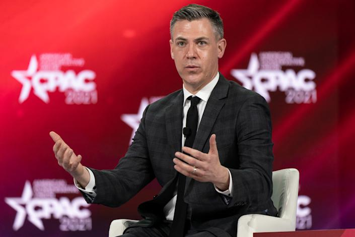 Representative Jim Banks, a Republican from Indiana, speaks during a panel discussion at the Conservative Political Action Conference (CPAC) in Orlando, Florida, U.S., on Saturday, Feb. 27, 2021. (Elijah Nouvelage/Bloomberg via Getty Images)