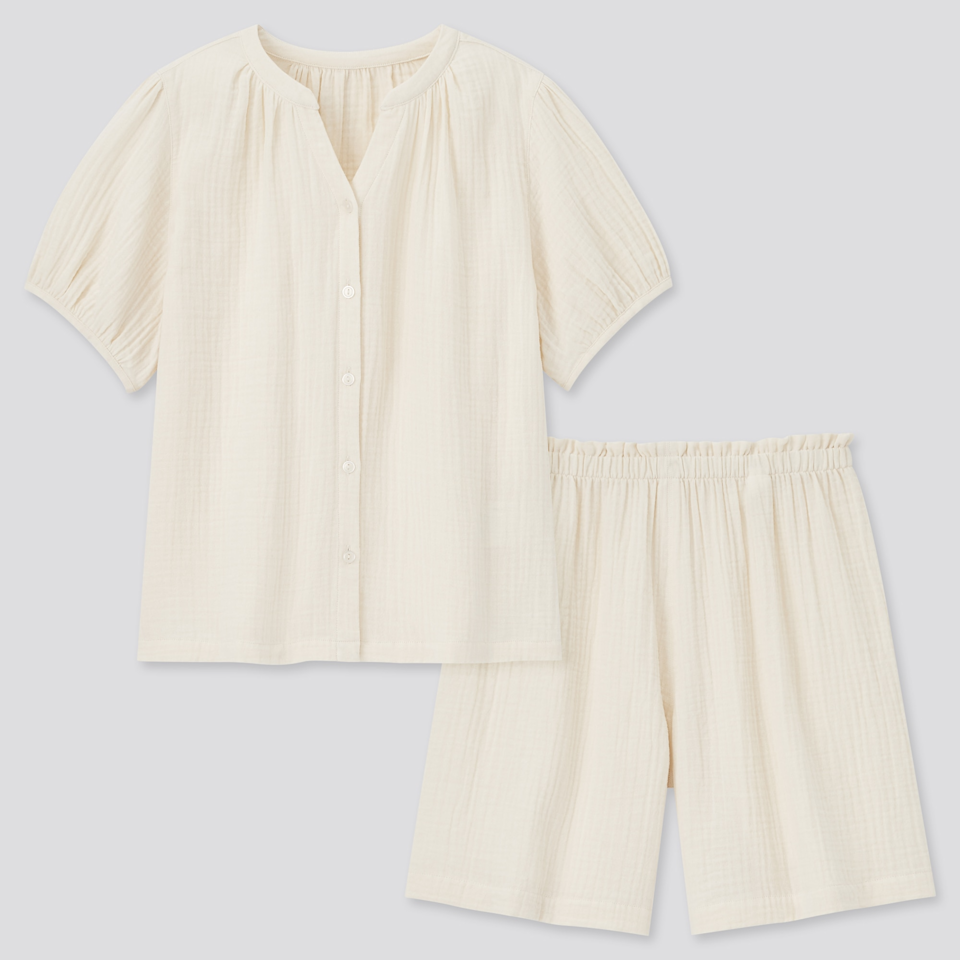 """<br><br><strong>Uniqlo</strong> Double-Gauze Short-Sleeve Pajamas, $, available at <a href=""""https://go.skimresources.com/?id=30283X879131&url=https%3A%2F%2Fwww.uniqlo.com%2Fus%2Fen%2Fwomen-double-gauze-short-sleeve-pajamas-437129COL01SMA005000.html"""" rel=""""nofollow noopener"""" target=""""_blank"""" data-ylk=""""slk:Uniqlo"""" class=""""link rapid-noclick-resp"""">Uniqlo</a>"""