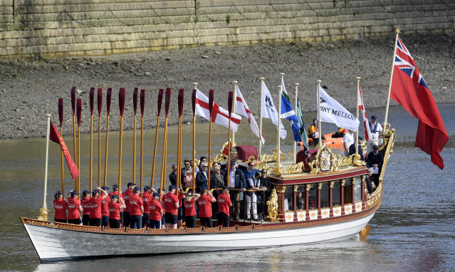 Britain Rowing - 2017 Oxford v Cambridge University Boat Race - River Thames, London - 2/4/17 The royal rowbarge Gloriana during a pageant before the boat race Reuters / Toby Melville Livepic