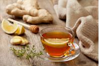 """<p>Tea of all kinds—green, black, white—has long been hailed for its <a href=""""https://www.prevention.com/health/a20514744/herbal-tea-health-benefits/"""" rel=""""nofollow noopener"""" target=""""_blank"""" data-ylk=""""slk:health benefits"""" class=""""link rapid-noclick-resp"""">health benefits</a>, thanks to its antioxidant and anti-inflammatory compounds.</p><p>""""Black tea consumption has been linked with improved <a href=""""https://www.prevention.com/health/health-conditions/g19562412/osteoporosis-exercises-to-avoid/"""" rel=""""nofollow noopener"""" target=""""_blank"""" data-ylk=""""slk:bone density"""" class=""""link rapid-noclick-resp"""">bone density</a> in older women in numerous studies, and green tea has been shown to reduce the risk of breast and other cancers,"""" says Dixon. The best way to score the health benefits of drinking tea without overdoing it on caffeine is to have no more than two to three cups daily.</p>"""