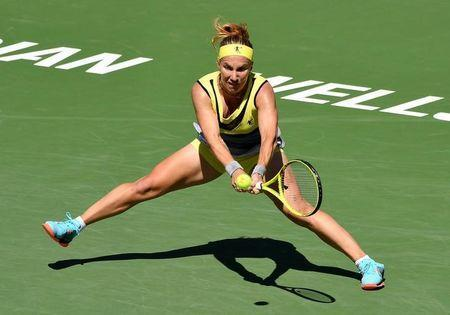 Mar 19, 2017; Indian Wells, CA, USA; Svetlana Kuznetsova (RUS) during her match against Elena Vesnina (not pictured) in the women's final in the BNP Paribas Open at the Indian Wells Tennis Garden. Vesnina won 6-7, 7-5, 6-4. Mandatory Credit: Jayne Kamin-Oncea-USA TODAY Sports
