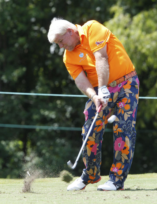 John Daly on the 14th tee in the second round of the Zurich Classic at the TPC Louisiana course in Avondale, La., Friday, April 27, 2012. T(AP Photo/Bill Haber)