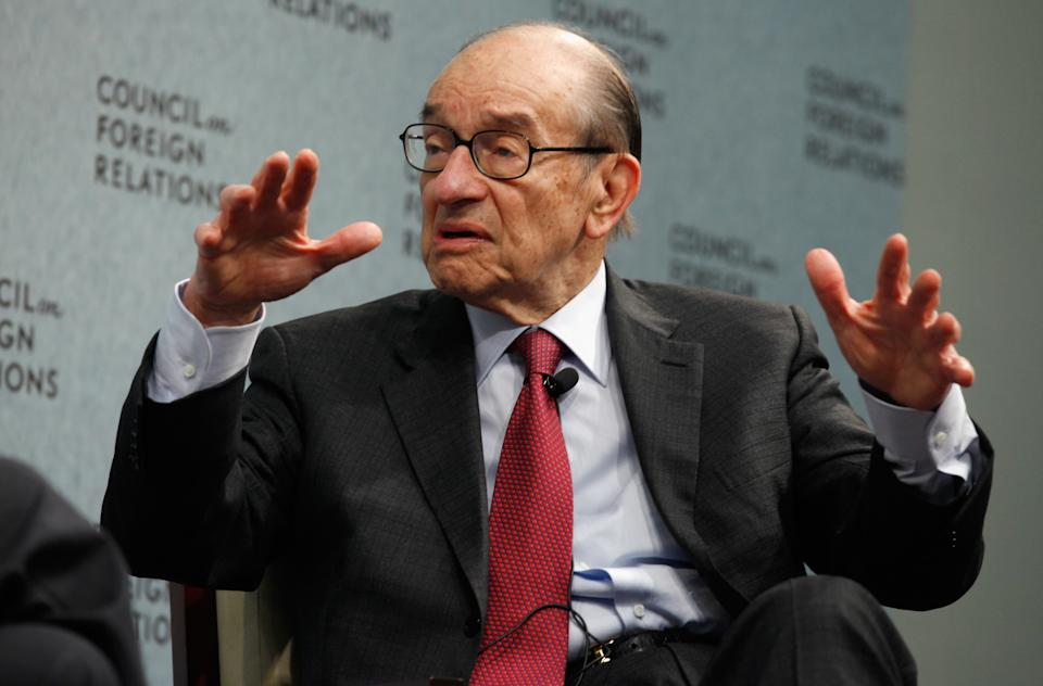 """WASHINGTON, DC - MARCH 15:  Former Federal Reserve Bank Chairman Alan Greenspan talks about his recent publication, """"Activism,"""" at the Council of Foreign Relations on March 15, 2011 in Washington, DC. Fed chairman from 1987 to 2006, Greenspan wrote in the new paper, """"I conclude that the current government activism is hampering what should be a broadbased robust economic recovery, driven in significant part by the positive wealth effect of a buoyant U.S. and global stock market."""" On a list of 25 people to blame for the financial crisis, Time Magazine placed him at number three.  (Photo by Chip Somodevilla/Getty Images)"""
