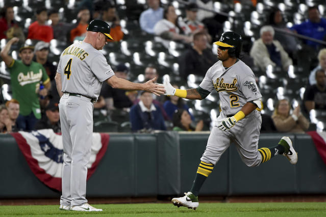 Oakland Athletics Khris Davis (2) celebrates with third base coach Matt Williams (4) after hitting a solo home run during the seventh inning of the team's baseball game against the Baltimore Orioles, Wednesday, April 10, 2019, in Baltimore. (AP Photo/Will Newton)