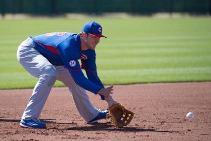 Kris Bryant (76) fields a ground ball during a spring training workout. (USA TODAY Sports)