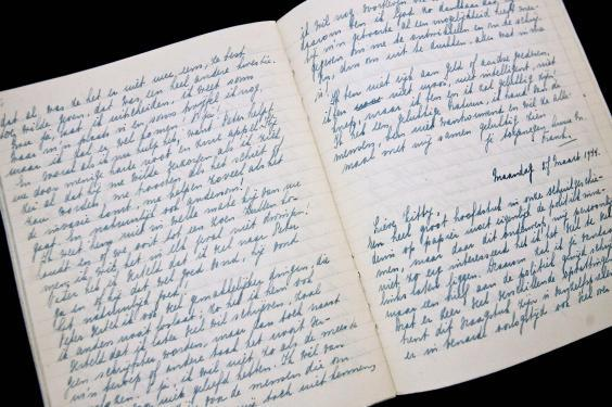 Anne Frank's diary on display at the Anne Frank Museum (Rex)