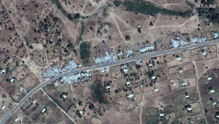 An overview of destroyed buildings near Dansha airport in Dansha, Ethiopia