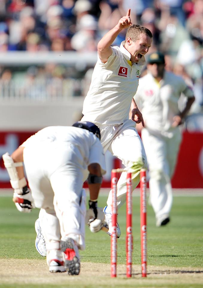 December 26-29, 2011 (1st Test at the MCg): India 1st Innings - Sachin Tendulkar b Peter Siddle 73; India 2nd Innings - Sachin Tendulkar c Michael Hussey b Siddle 32. India's away Test woes continued as the visitors' batsmen were blown away by Australia's pacers as the hosts took a 1-0 lead in the series with a comprehensive 122-run win. (WILLIAM WEST/AFP/Getty Images)
