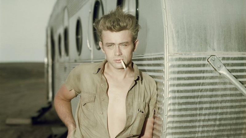 American actor James Dean on the set of Giant. Taken around 1955
