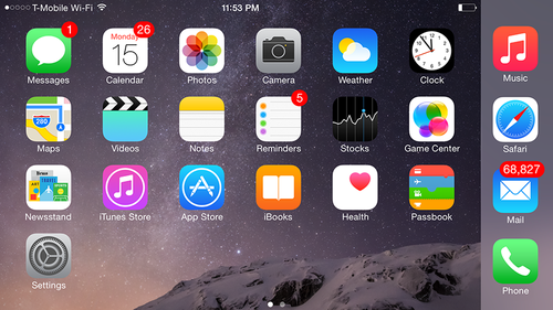 iPhone home screen in landscape view