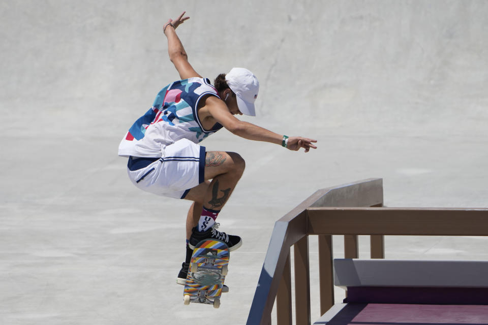 Jagger Eaton of the United States competes in the men's street skateboarding finals at the 2020 Summer Olympics, Sunday, July 25, 2021, in Tokyo, Japan. (AP Photo/Jae C. Hong)