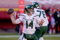 New York Jets quarterback Sam Darnold (14) throws a pass in the second half of an NFL football game against the Kansas City Chiefs on Sunday, Nov. 1, 2020, in Kansas City, Mo. (AP Photo/Jeff Roberson)