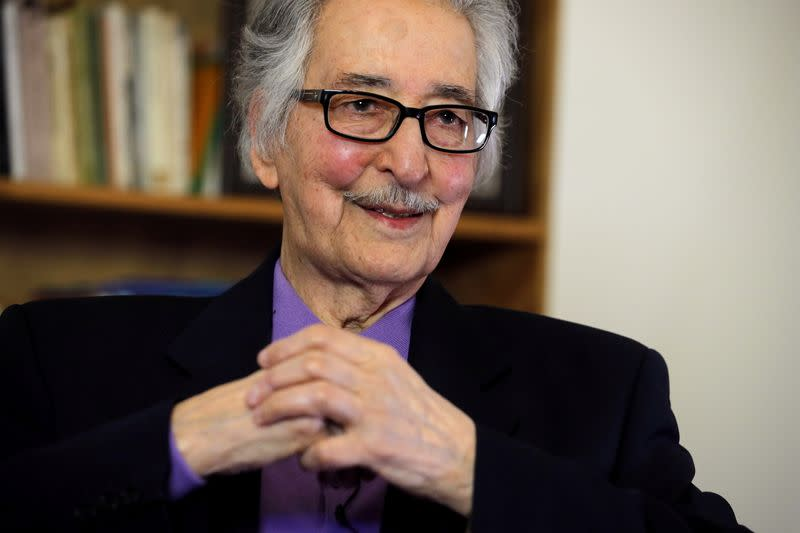 FILE PHOTO: Former Iranian President Abolhassan Bani-Sadr attends an interview with Reuters in Versailles, near Paris