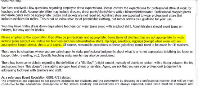 """The highlighted statement includes capris in the list of clothing deemed """"not appropriate."""" (Photo: 11Alive)"""