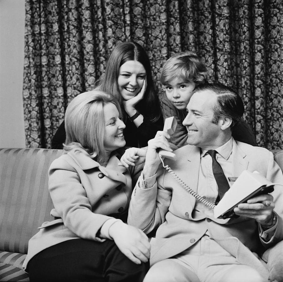 John Stonehouse with his first wife, Barbara, and children Julia and Matthew at their country home in 1969