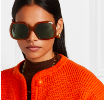 Gucci oversized square-frame tortoiseshell acetate sunglasses, 50% off, US$153/ Approx. SGD213, (was US$327.42). PHOTO: NET-A-PORTER