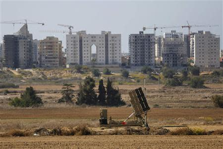 An Iron Dome missile interceptor battery is deployed in the southern Israeli coastal city of Ashkelon