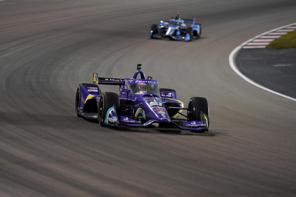 Romain Grosjean (51) drives during an IndyCar auto race at World Wide Technology Raceway on Saturday, Aug. 21, 2021, in Madison, Ill. (AP Photo/Jeff Roberson)