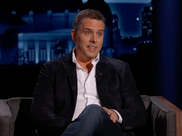 <p>Hunter Biden speaking during an interview on Jimmy Kimmel Live! on Thursday 8 April 2021</p> ((ABC))