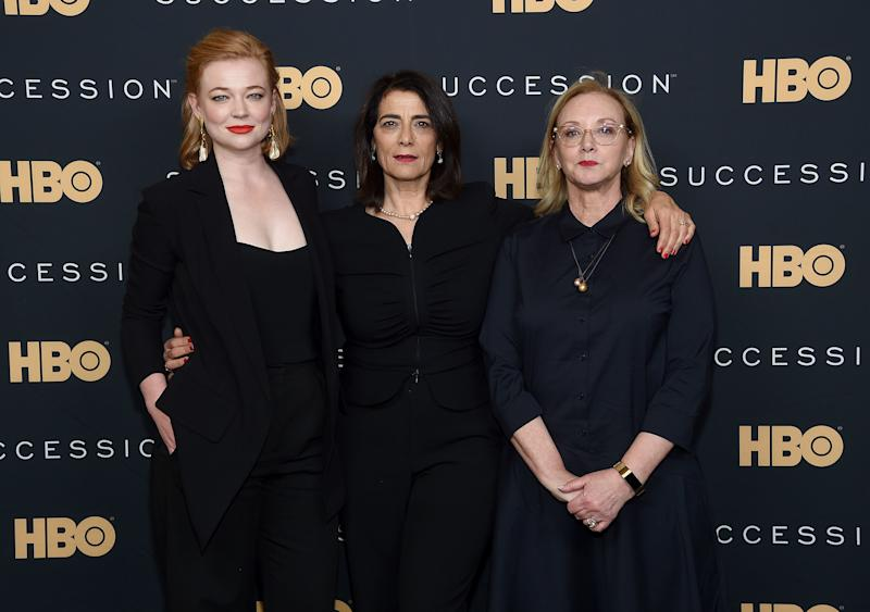Sarah Snook, Hiam Abbass and J. Smith-Cameron at Time Warner Center on April 17, 2019 in New York City.