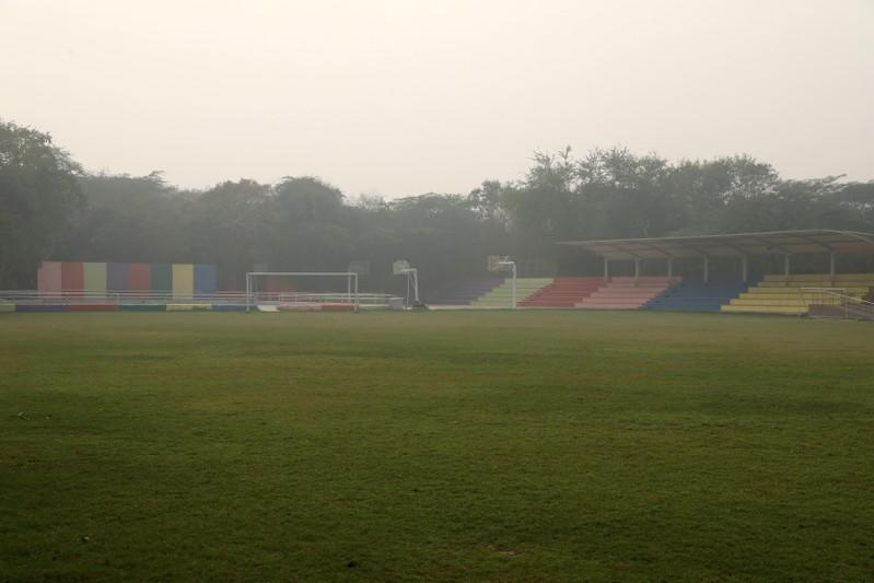 An empty football court of a school is seen after the school remained closed on account of smog in New Delhi