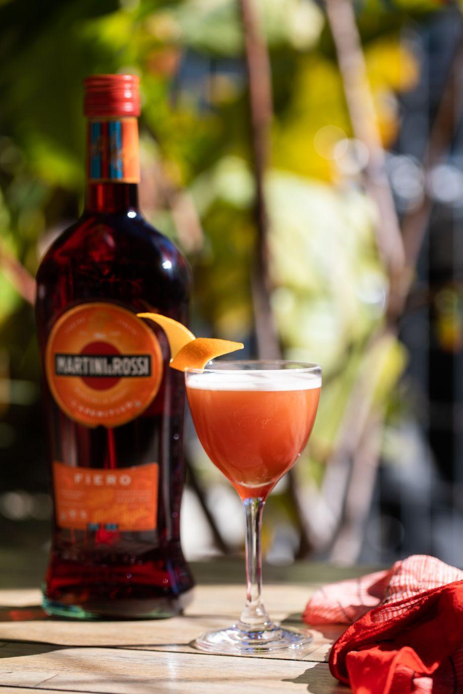 <p>This dramatic cocktail combines a few of our favorite ingredients: Fiero, gin, and cold brew coffee. What's not to love? </p><p><strong>Ingredients:</strong></p><p>¾ ounce Martini & Rossi Fiero</p><p>¾ ounce Bombay Sapphire gin</p><p>¼ ounce Martini & Rossi Bitter liqueur</p><p>¾ ounce Cold brew coffee</p><p>Orange peel, for garnish</p><p><strong>Directions:</strong></p><p>Stir together ingredients, pour into a coupe glass, and garnish with an orange slice.<br></p>