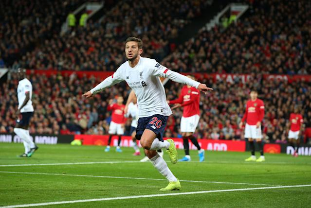 Adam Lallana broke Manchester United hearts with a late leveller. (Photo by Alex Livesey/Getty Images)