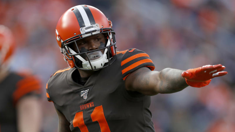 Cleveland Browns wide receiver Antonio Callaway (11) against the Denver Broncos during the first half of NFL football game, Sunday, Nov. 3, 2019, in Denver. (AP Photo/David Zalubowski)