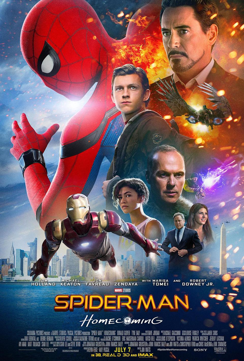 <p>It's hard to single out what we liked least about this garish one-sheet for Spider-Man 3.0. We'll settle for an abundance of sparks from no place in particular, a horrible clash of two different city skylines and – if you zoom in really, really closely – the remnants of green-screen among the strands of Zendaya's hair. And don't forget Iron Man's basic 'lying on a table' flight pose. </p>