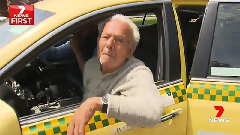 Eugenio Prenesti spat from his taxi when questioned about the feud. Source: 7 News