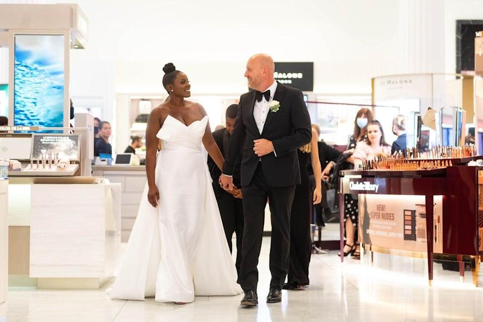 The couple were the first to get married at Selfridges in London (David Parry/PA) (PA Wire)