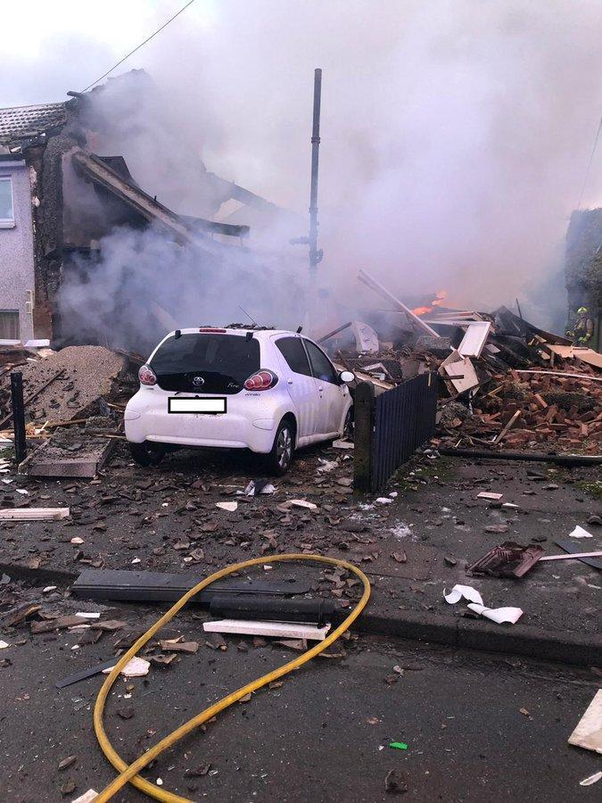 <p>The scene after the 'explosion' in West Yorkshire</p> (West Yorks Fire and Rescue)