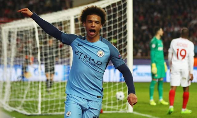 "<span class=""element-image__caption"">Leroy Sané celebrates scoring for Manchester City against Monaco in the Champions League. The Germany winger has hit seven goals so far in his first season at City.</span> <span class=""element-image__credit"">Photograph: Michael Steele/Getty Images</span>"