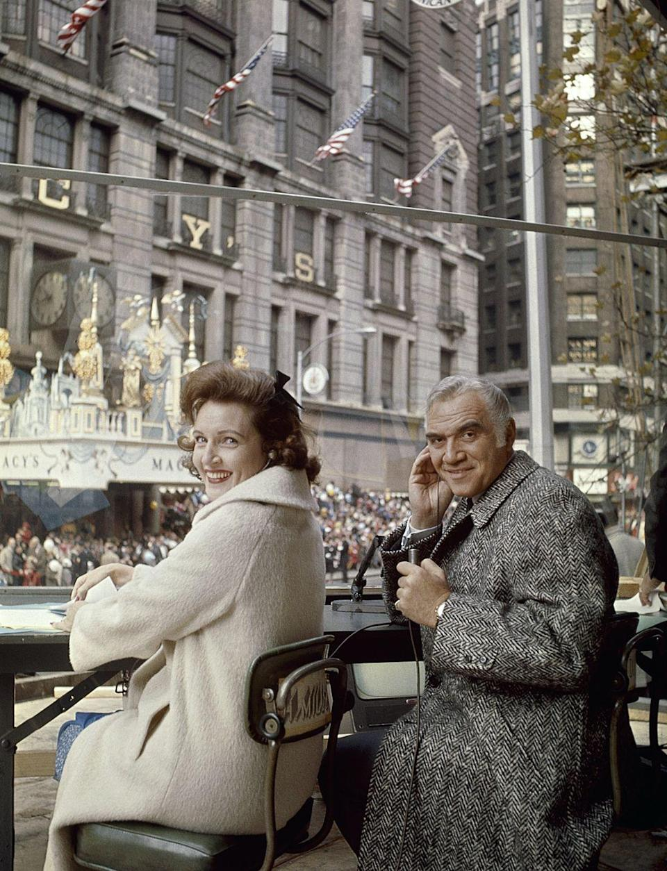 <p>Television personalities Betty White and Lorne Greene flash a smile as they sit in the hosting spot at the 1965 Macy's Thanksgiving Day Parade. The pair made televised appearances at the parade throughout much of the 1960s.</p>
