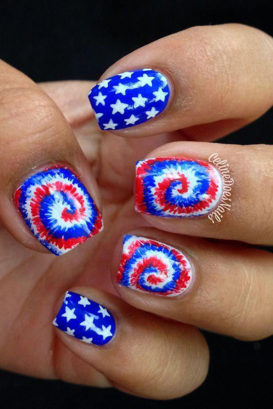 """<p>Let's be real: Red, white, and blue tie-dye might be the most American thing ever - and we love it!</p><p><em><a href=""""http://www.nailpolis.com/artworks/celinedoesnails-fourth-of-july-tie-dye-nail-art"""" rel=""""nofollow noopener"""" target=""""_blank"""" data-ylk=""""slk:See more on Nailpolis »"""" class=""""link rapid-noclick-resp"""">See more on Nailpolis »</a></em></p>"""