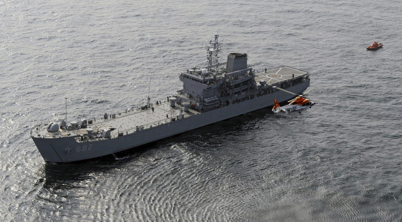 In this photo released by the Defense Ministry of South Korea, a fake suspicious ship is chased by warships from South Korea and Japan, unseen, during a multi-national exercise at sea between South Korea and Japan Thursday, Oct. 14, 2010. The one-day maneuvers are South Korea's first active participation in the Proliferation Security Initiative, aimed at deterring trade in weapons of mass destruction and missiles by states including North Korea and Iran. (AP Photo/ Defense Ministry via Yonhap)  ** KOREA OUT **