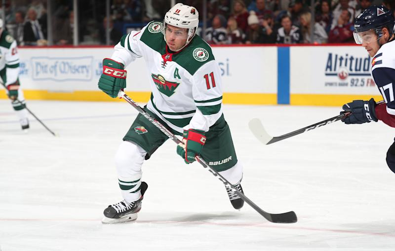 Zach Parise #11 of the Minnesota Wild skates