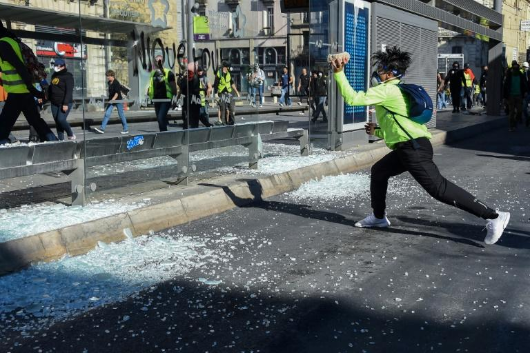 Vandals and looters have left a trial of destruction on the margins of France's 'yellow vest' protests
