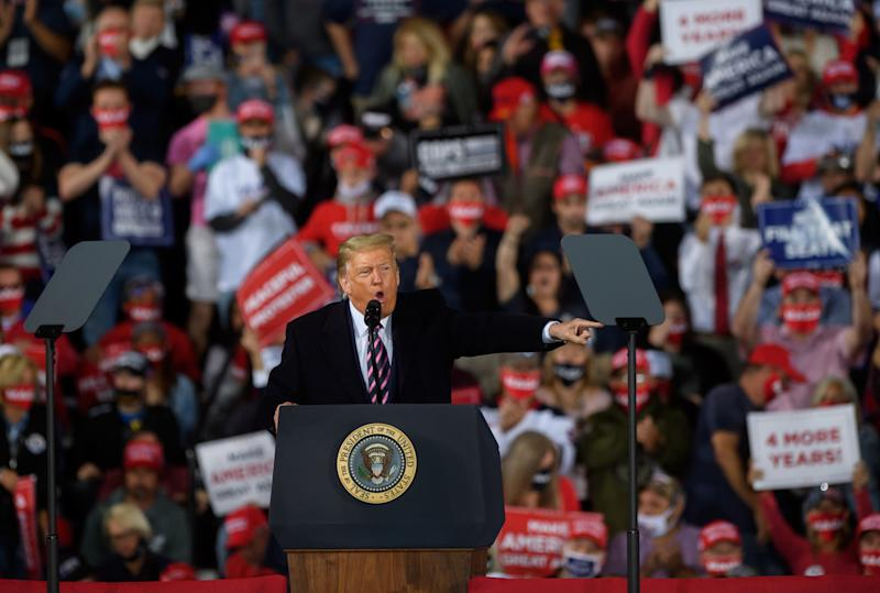 President Trump speaks at a campaign rally in Moon Township, Pa. (Jeff Swensen/Getty Images)