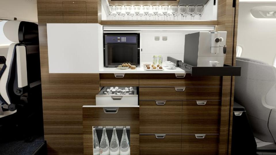 The larger, more modern galley is a minor but important modification in the new Challenger. - Credit: Courtesy Bombardier