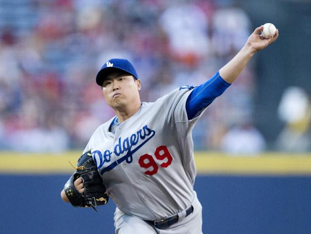 Los Angeles Dodgers starting pitcher Hyun-Jin Ryu (99) works in the first inning of a baseball game against the Atlanta Braves Wednesday, Aug. 13, 2014, in Atlanta. (AP Photo/John Bazemore)